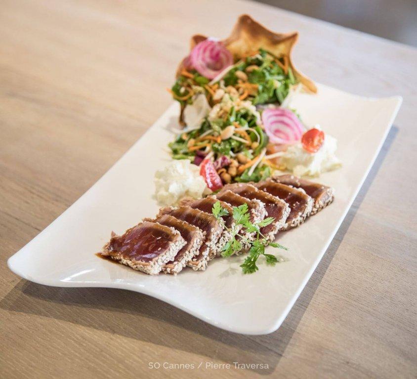 Seared sesame-crusted tuna tataki