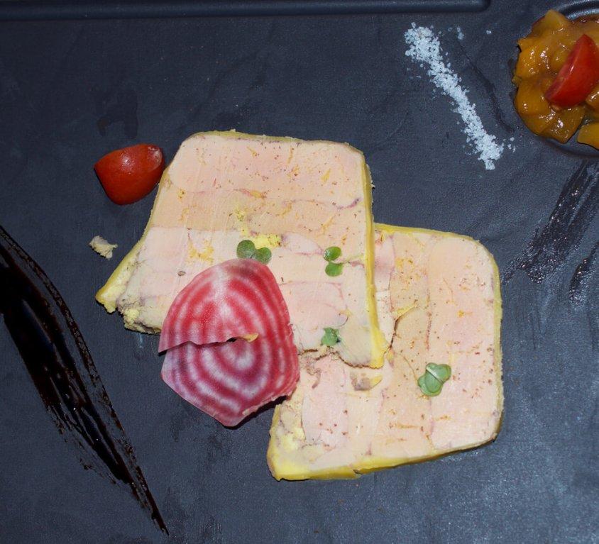 Foie gras with mango chutney and smoked salmon